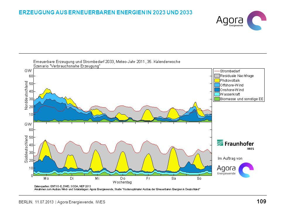 BERLIN, 11.07.2013 | Agora Energiewende, IWES ERZEUGUNG AUS ERNEUERBAREN ENERGIEN IN 2023 UND 2033 109