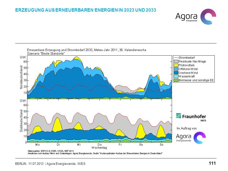 BERLIN, 11.07.2013 | Agora Energiewende, IWES ERZEUGUNG AUS ERNEUERBAREN ENERGIEN IN 2023 UND 2033 111