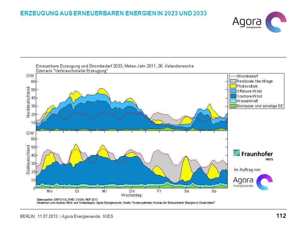 BERLIN, 11.07.2013 | Agora Energiewende, IWES ERZEUGUNG AUS ERNEUERBAREN ENERGIEN IN 2023 UND 2033 112