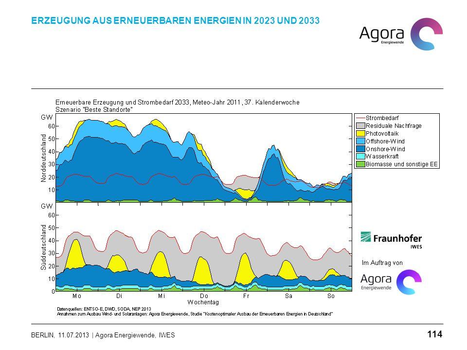 BERLIN, 11.07.2013 | Agora Energiewende, IWES ERZEUGUNG AUS ERNEUERBAREN ENERGIEN IN 2023 UND 2033 114
