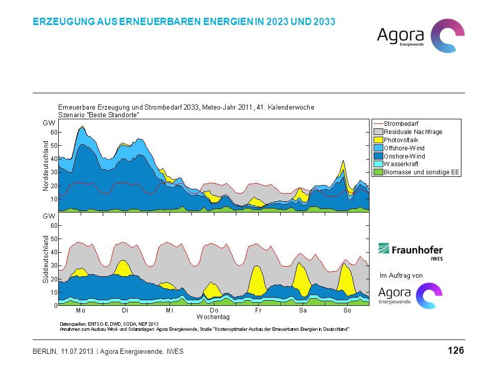 BERLIN, 11.07.2013 | Agora Energiewende, IWES ERZEUGUNG AUS ERNEUERBAREN ENERGIEN IN 2023 UND 2033 126