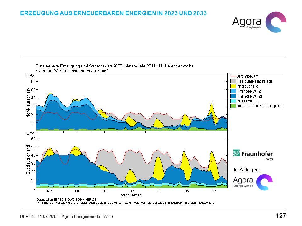 BERLIN, 11.07.2013 | Agora Energiewende, IWES ERZEUGUNG AUS ERNEUERBAREN ENERGIEN IN 2023 UND 2033 127