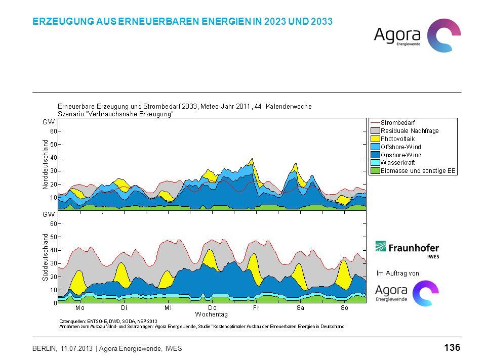 BERLIN, 11.07.2013 | Agora Energiewende, IWES ERZEUGUNG AUS ERNEUERBAREN ENERGIEN IN 2023 UND 2033 136