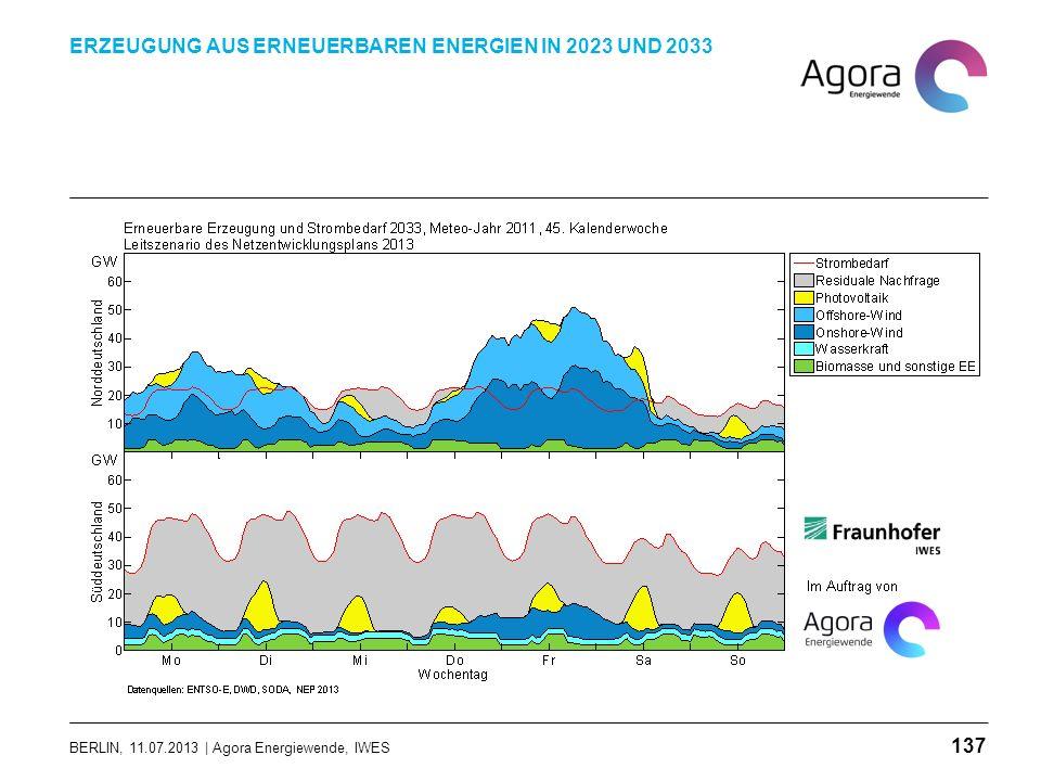 BERLIN, 11.07.2013 | Agora Energiewende, IWES ERZEUGUNG AUS ERNEUERBAREN ENERGIEN IN 2023 UND 2033 137