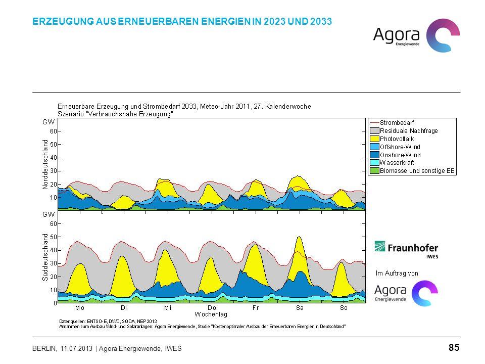 BERLIN, 11.07.2013 | Agora Energiewende, IWES ERZEUGUNG AUS ERNEUERBAREN ENERGIEN IN 2023 UND 2033 85