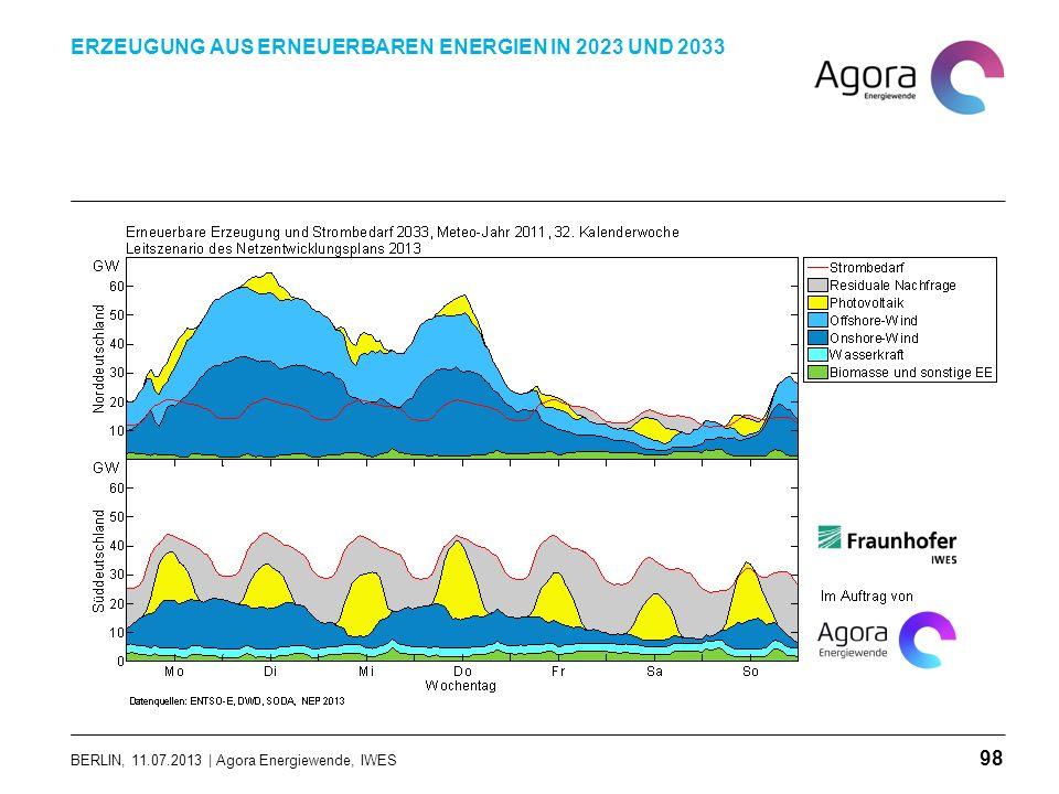 BERLIN, 11.07.2013 | Agora Energiewende, IWES ERZEUGUNG AUS ERNEUERBAREN ENERGIEN IN 2023 UND 2033 98