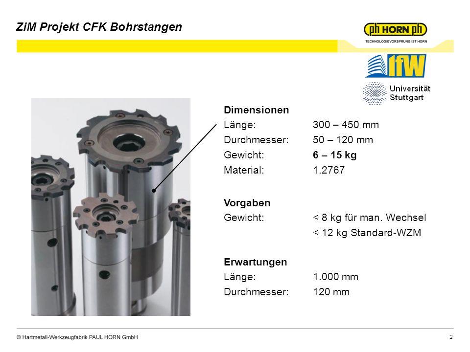 2 Dimensionen Länge:300 – 450 mm Durchmesser:50 – 120 mm Gewicht:6 – 15 kg Material:1.2767 Vorgaben Gewicht:< 8 kg für man.