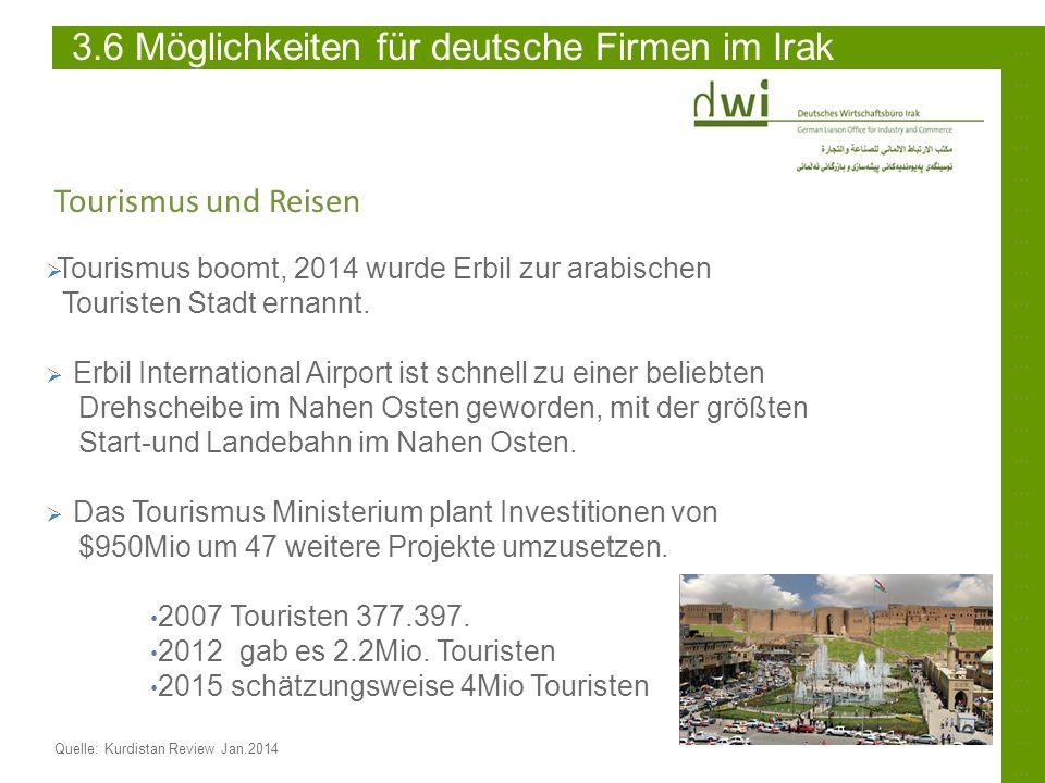 ……………………………………………………………………………………………………………………………… Quelle: Kurdistan Review Jan.2014 3.6 Möglichkeiten für deutsche Firmen im Irak Tourismus und Reisen