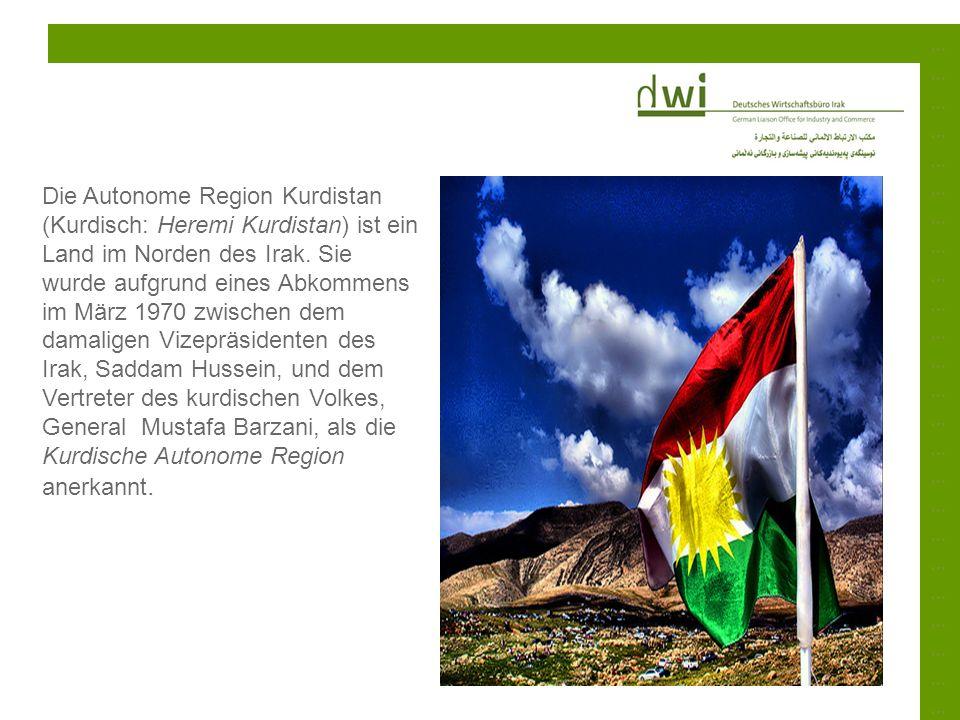 ……………………………………………………………………………………………………………………………… Die Autonome Region Kurdistan (Kurdisch: Heremi Kurdistan) ist ein Land im Norden des Irak. Sie wurde