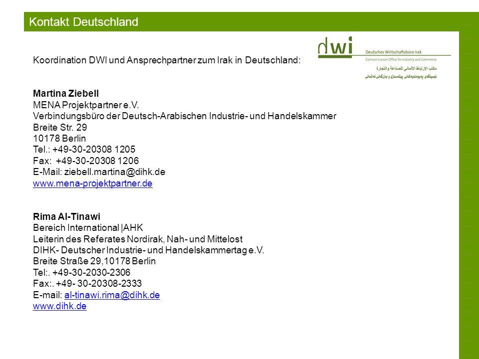 ……………………………………………………………………………………………………………………………… Kontakt Deutschland Koordination DWI und Ansprechpartner zum Irak in Deutschland: Martina Ziebell MEN
