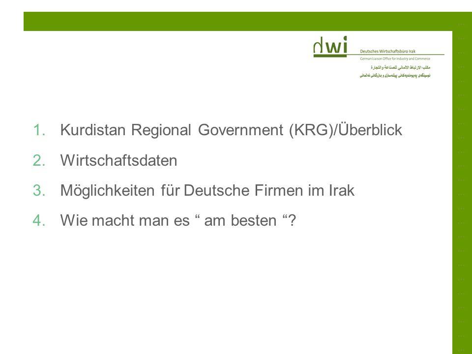 ……………………………………………………………………………………………………………………………… 1.Kurdistan Regional Government (KRG)/Überblick 2.Wirtschaftsdaten 3.Möglichkeiten für Deutsche Firme