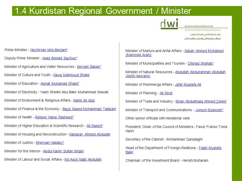 ……………………………………………………………………………………………………………………………… 1.4 Kurdistan Regional Government / Minister Prime Minister - Nechirvan Idris Barzani* Deputy Prime M