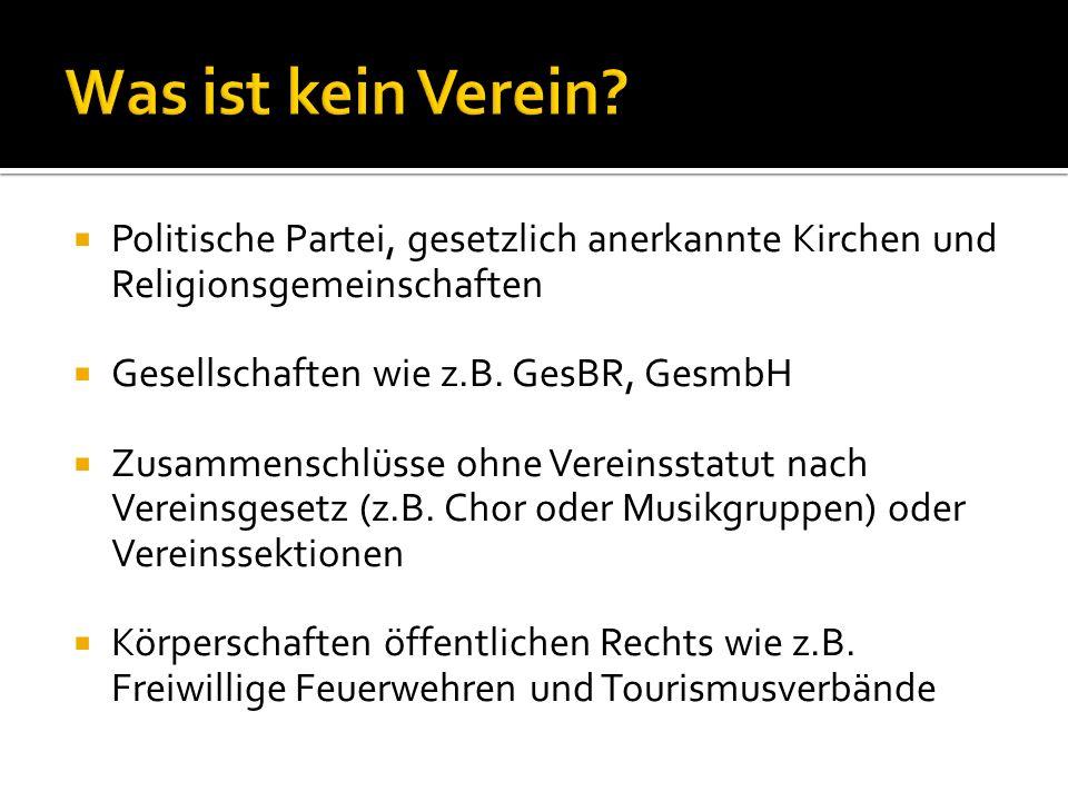 Politische Partei, gesetzlich anerkannte Kirchen und Religionsgemeinschaften Gesellschaften wie z.B.