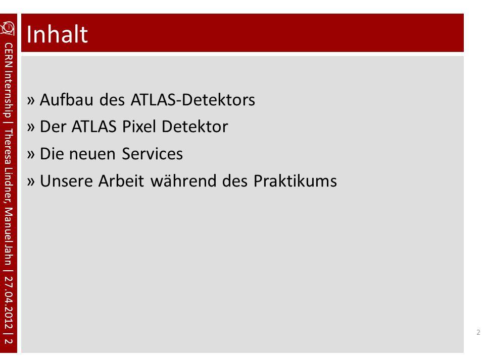CERN Internship | Theresa Lindner, Manuel Jahn | 27.04.2012 | 2 Inhalt »Aufbau des ATLAS-Detektors »Der ATLAS Pixel Detektor »Die neuen Services »Unse