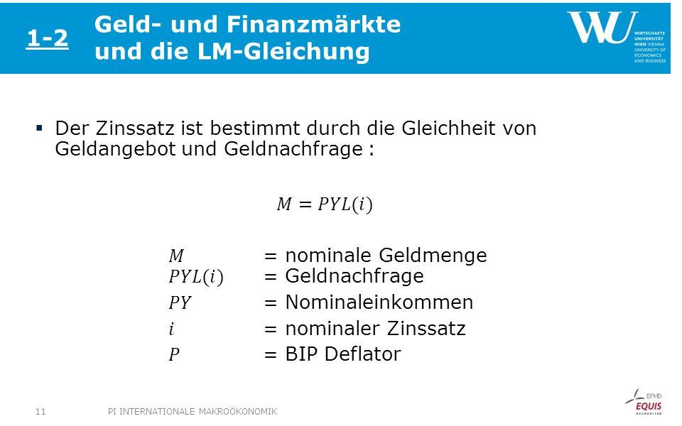 Geld- und Finanzmärkte und die LM-Gleichung 1-2 PI INTERNATIONALE MAKROÖKONOMIK11