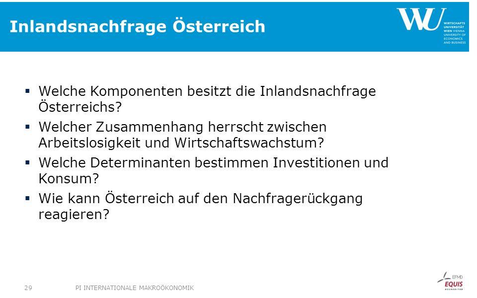 Inlandsnachfrage Österreich Welche Komponenten besitzt die Inlandsnachfrage Österreichs? Welcher Zusammenhang herrscht zwischen Arbeitslosigkeit und W
