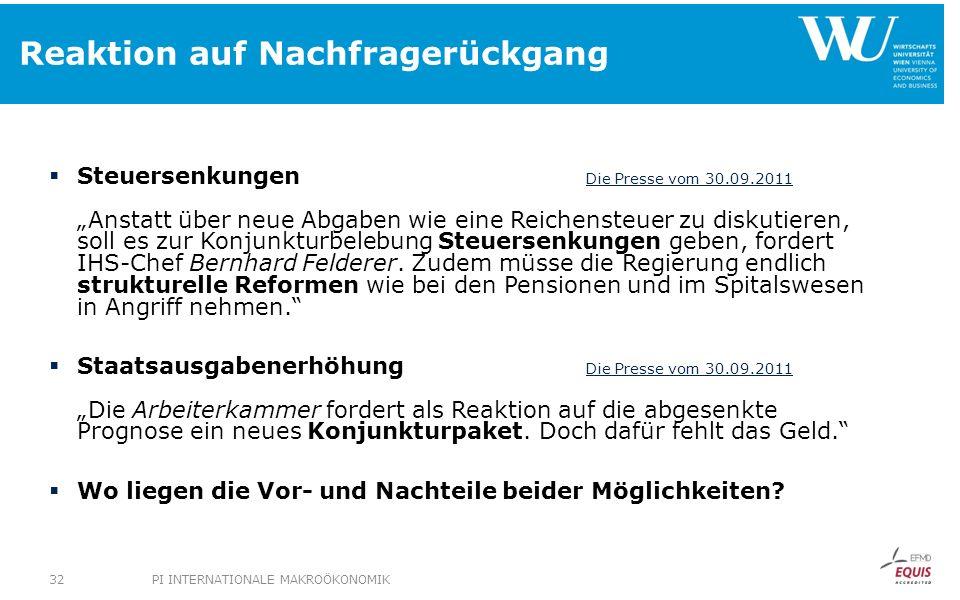 Reaktion auf Nachfragerückgang Steuersenkungen Die Presse vom 30.09.2011 Anstatt über neue Abgaben wie eine Reichensteuer zu diskutieren, soll es zur