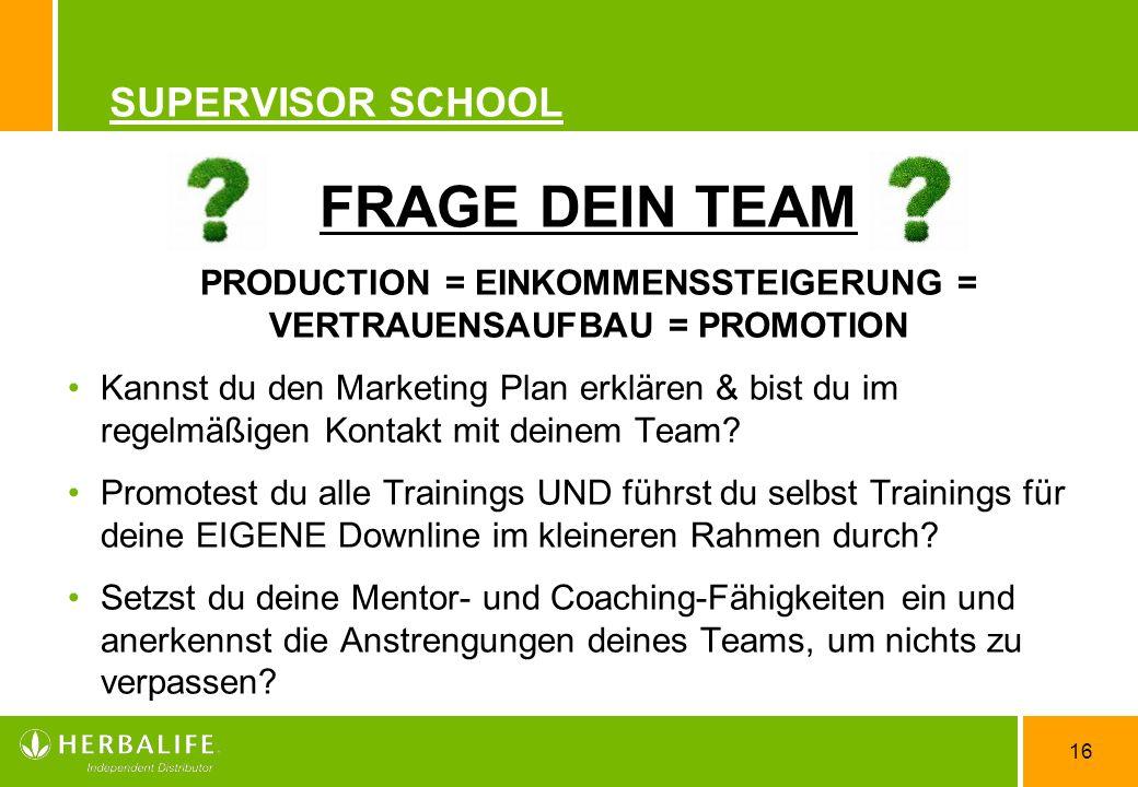 16 SUPERVISOR SCHOOL FRAGE DEIN TEAM PRODUCTION = EINKOMMENSSTEIGERUNG = VERTRAUENSAUFBAU = PROMOTION Kannst du den Marketing Plan erklären & bist du