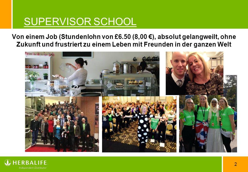 2 SUPERVISOR SCHOOL Von einem Job (Stundenlohn von £6.50 (8,00 ), absolut gelangweilt, ohne Zukunft und frustriert zu einem Leben mit Freunden in der
