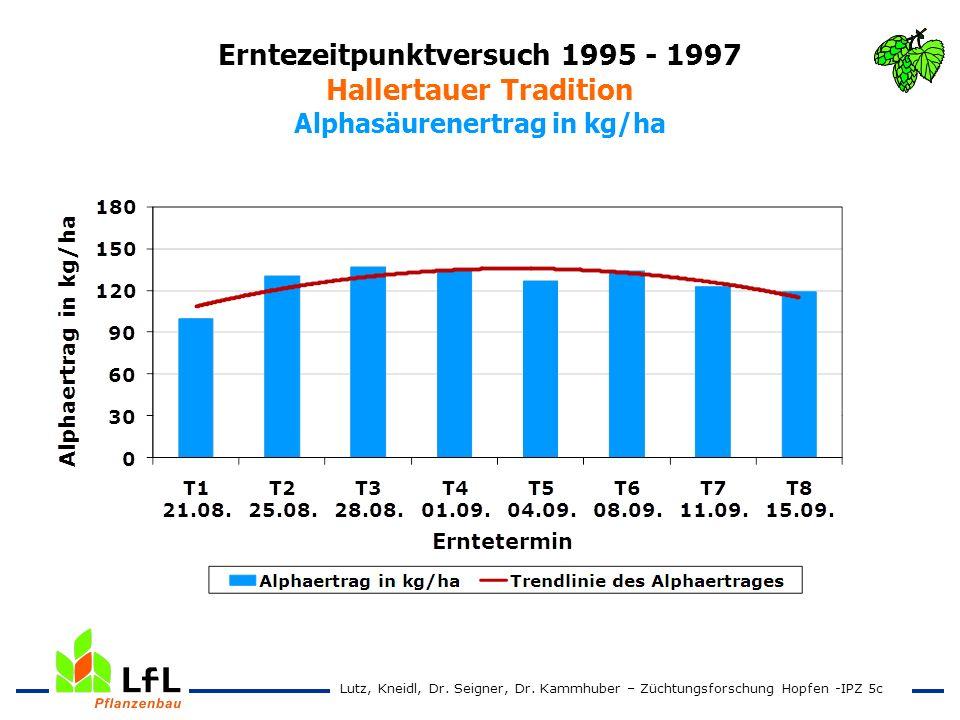 Erntezeitpunktversuch 1995 - 1997 Hallertauer Tradition Alphasäurenertrag in kg/ha Lutz, Kneidl, Dr. Seigner, Dr. Kammhuber – Züchtungsforschung Hopfe