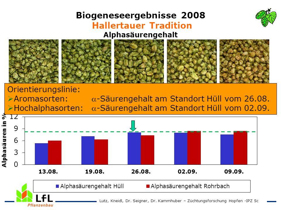 Biogeneseergebnisse 2008 Hallertauer Tradition Alphasäurengehalt 13.08. 19.08. 26.08. 02.09 09.09. Lutz, Kneidl, Dr. Seigner, Dr. Kammhuber – Züchtung