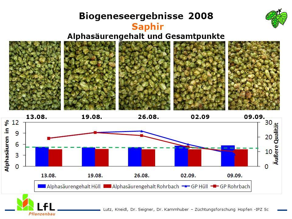 Biogeneseergebnisse 2008 Saphir Alphasäurengehalt und Gesamtpunkte 13.08. 19.08. 26.08. 02.09 09.09. Lutz, Kneidl, Dr. Seigner, Dr. Kammhuber – Züchtu
