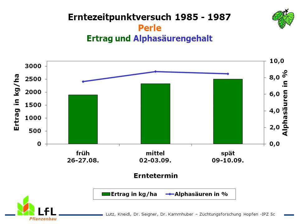 Erntezeitpunktversuch 1985 - 1987 Perle Ertrag und Alphasäurengehalt Lutz, Kneidl, Dr. Seigner, Dr. Kammhuber – Züchtungsforschung Hopfen -IPZ 5c