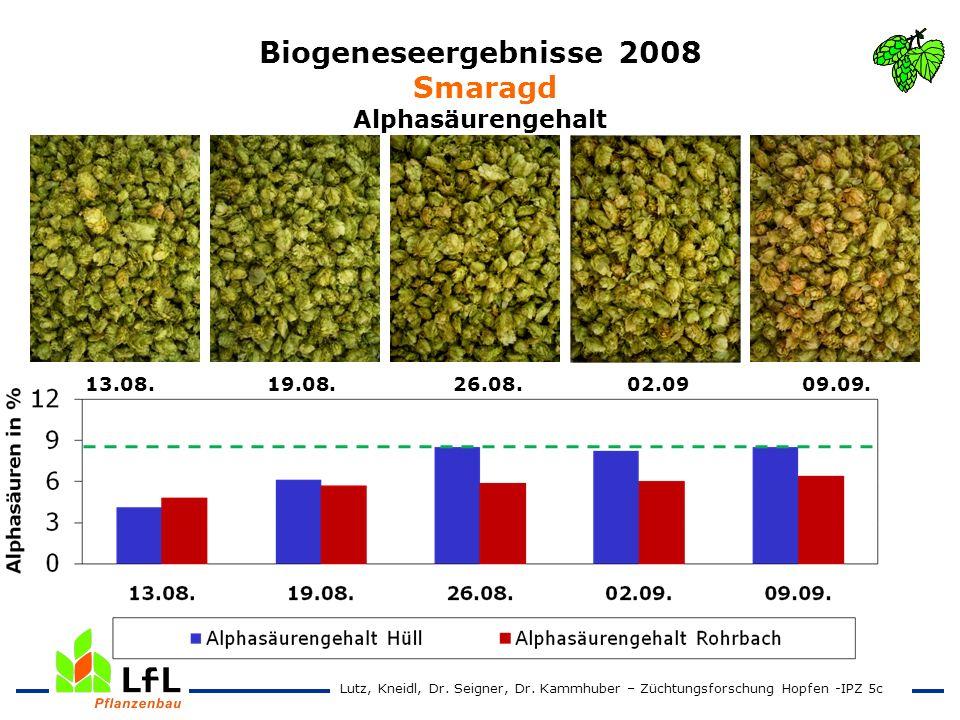 Biogeneseergebnisse 2008 Smaragd Alphasäurengehalt 13.08. 19.08. 26.08. 02.09 09.09. Lutz, Kneidl, Dr. Seigner, Dr. Kammhuber – Züchtungsforschung Hop