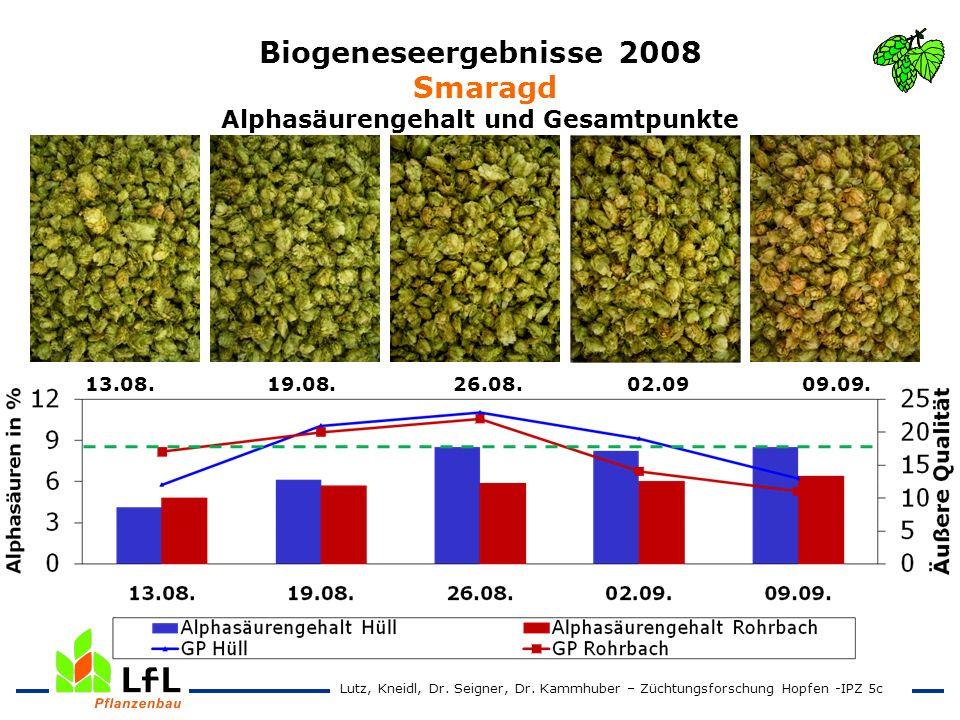 Biogeneseergebnisse 2008 Smaragd Alphasäurengehalt und Gesamtpunkte 13.08. 19.08. 26.08. 02.09 09.09. Lutz, Kneidl, Dr. Seigner, Dr. Kammhuber – Zücht