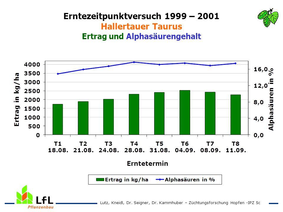 Erntezeitpunktversuch 1999 – 2001 Hallertauer Taurus Ertrag und Alphasäurengehalt Lutz, Kneidl, Dr. Seigner, Dr. Kammhuber – Züchtungsforschung Hopfen