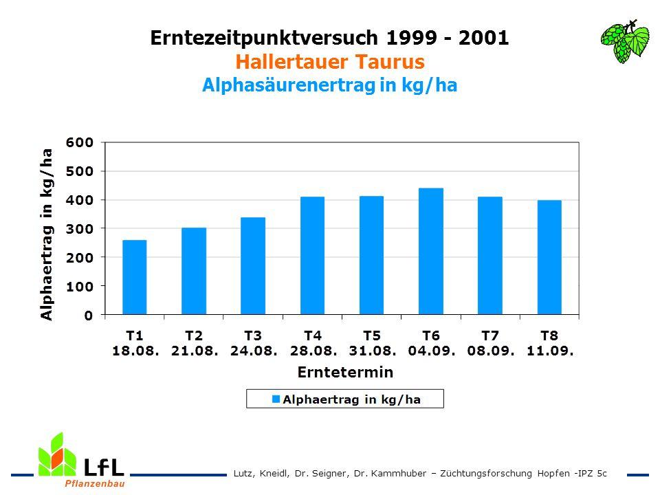 Erntezeitpunktversuch 1999 - 2001 Hallertauer Taurus Alphasäurenertrag in kg/ha Lutz, Kneidl, Dr. Seigner, Dr. Kammhuber – Züchtungsforschung Hopfen -