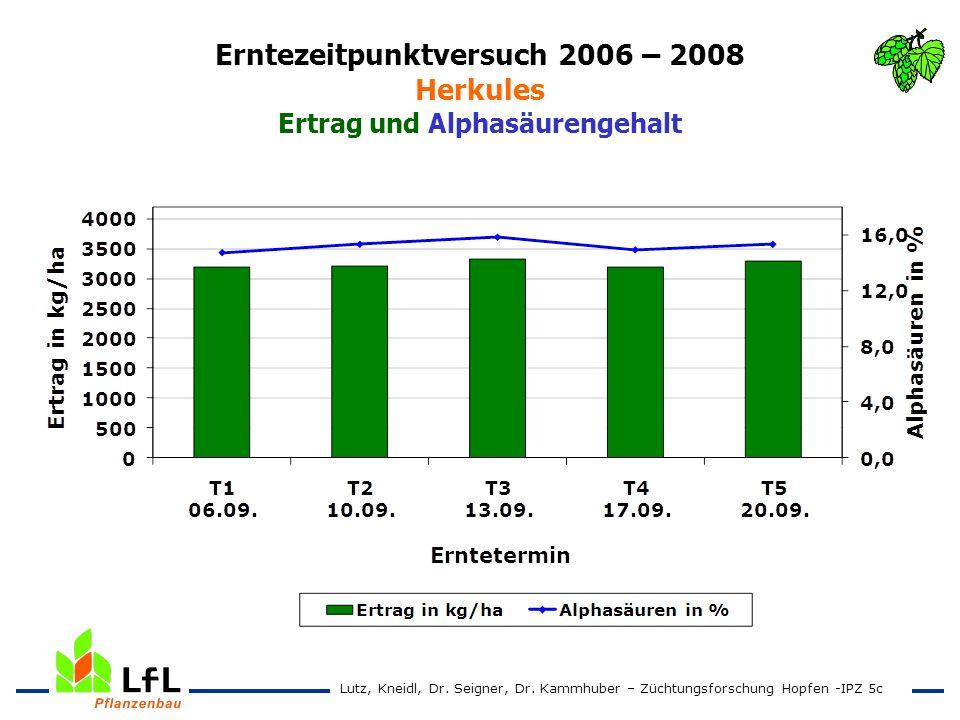 Erntezeitpunktversuch 2006 – 2008 Herkules Ertrag und Alphasäurengehalt Lutz, Kneidl, Dr. Seigner, Dr. Kammhuber – Züchtungsforschung Hopfen -IPZ 5c