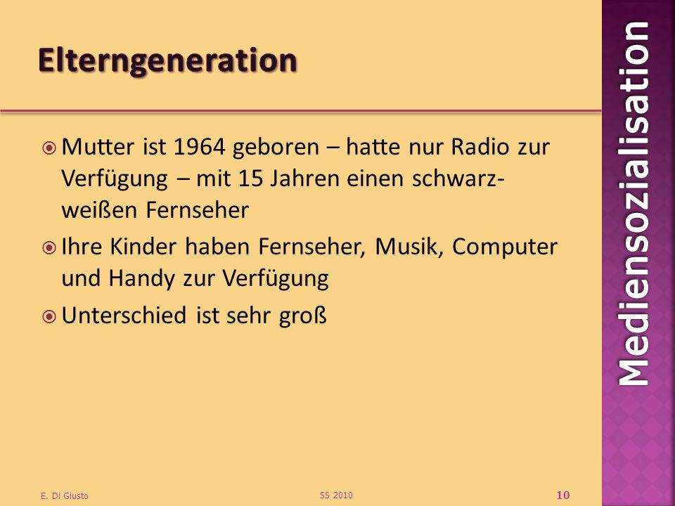Mutter ist 1964 geboren – hatte nur Radio zur Verfügung – mit 15 Jahren einen schwarz- weißen Fernseher Ihre Kinder haben Fernseher, Musik, Computer u