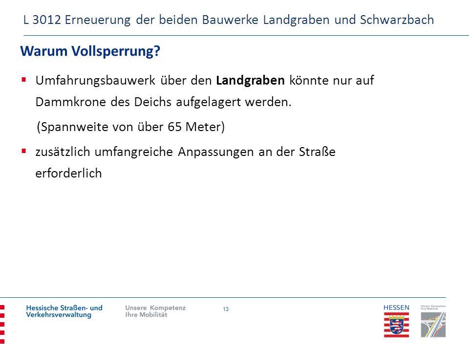 13 Warum Vollsperrung? L 3012 Erneuerung der beiden Bauwerke Landgraben und Schwarzbach Umfahrungsbauwerk über den Landgraben könnte nur auf Dammkrone