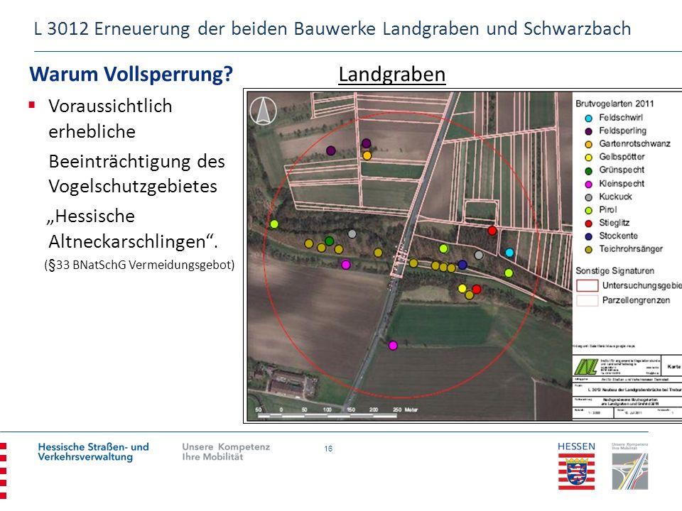 16 Warum Vollsperrung? L 3012 Erneuerung der beiden Bauwerke Landgraben und Schwarzbach Landgraben Voraussichtlich erhebliche Beeinträchtigung des Vog