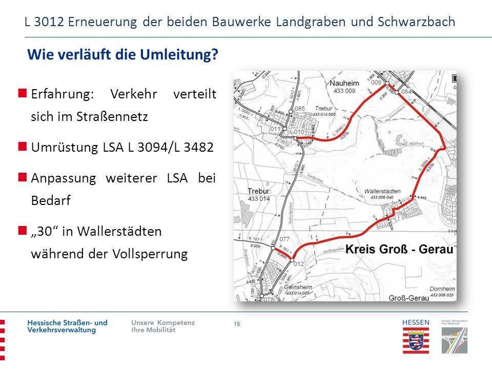 19 Wie verläuft die Umleitung? L 3012 Erneuerung der beiden Bauwerke Landgraben und Schwarzbach Erfahrung: Verkehr verteilt sich im Straßennetz Umrüst