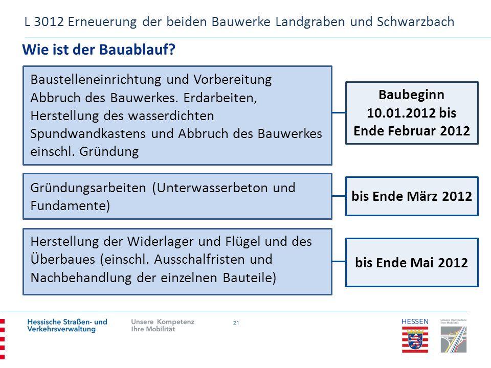 21 Wie ist der Bauablauf? L 3012 Erneuerung der beiden Bauwerke Landgraben und Schwarzbach Baustelleneinrichtung und Vorbereitung Abbruch des Bauwerke