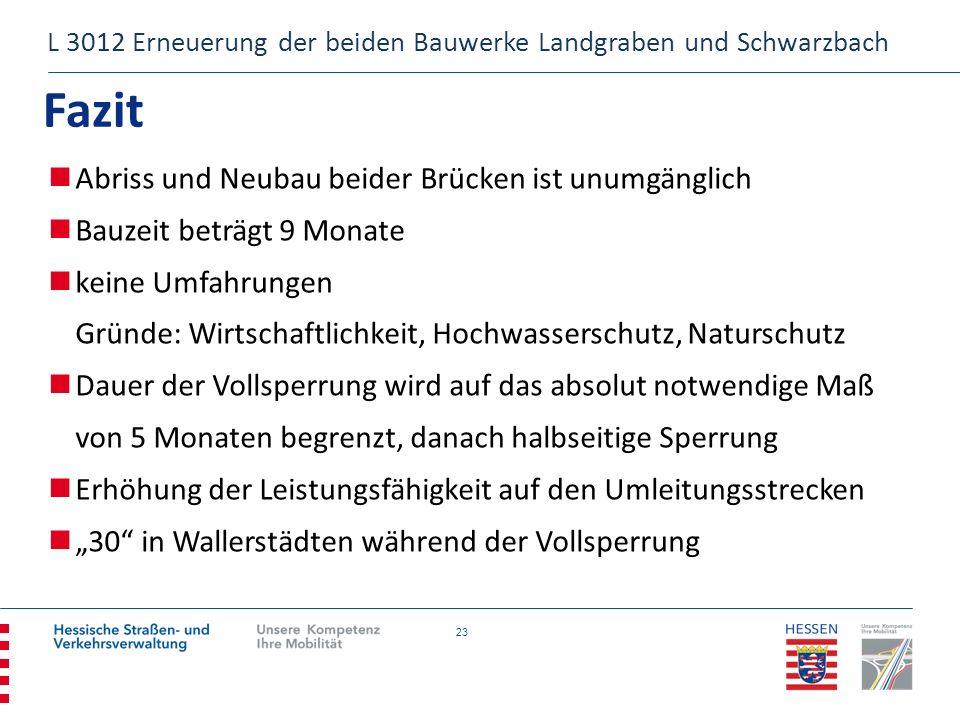 23 Fazit L 3012 Erneuerung der beiden Bauwerke Landgraben und Schwarzbach Abriss und Neubau beider Brücken ist unumgänglich Bauzeit beträgt 9 Monate k