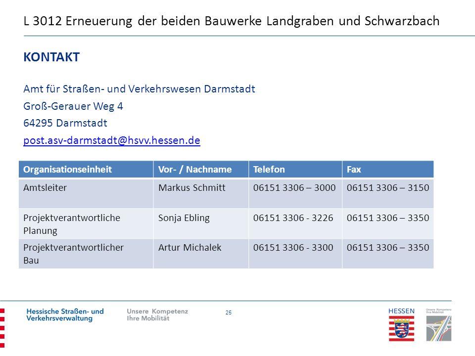 25 KONTAKT Amt für Straßen- und Verkehrswesen Darmstadt Groß-Gerauer Weg 4 64295 Darmstadt post.asv-darmstadt@hsvv.hessen.de OrganisationseinheitVor-