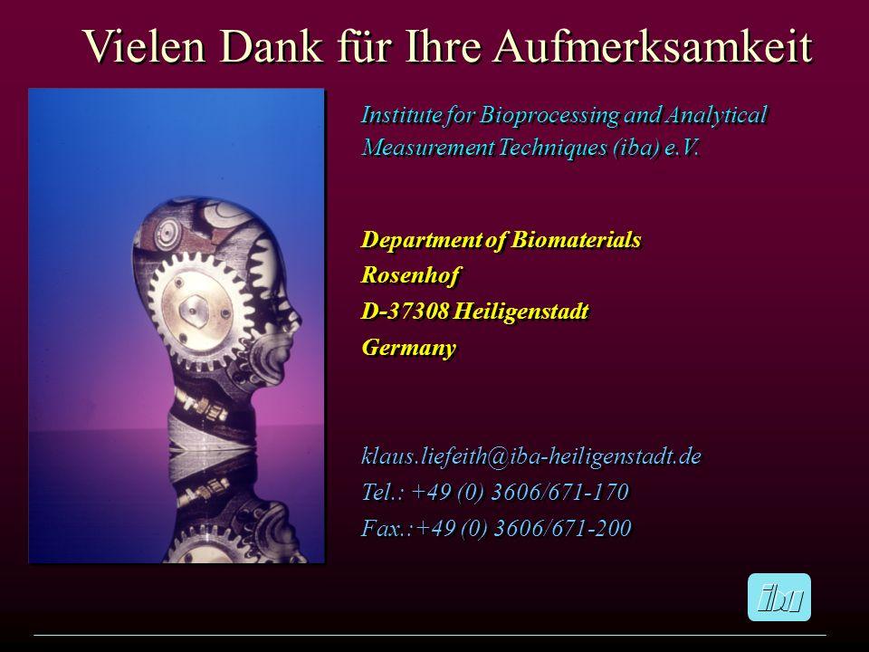 Vielen Dank für Ihre Aufmerksamkeit Institute for Bioprocessing and Analytical Measurement Techniques (iba) e.V. Department of Biomaterials Rosenhof D