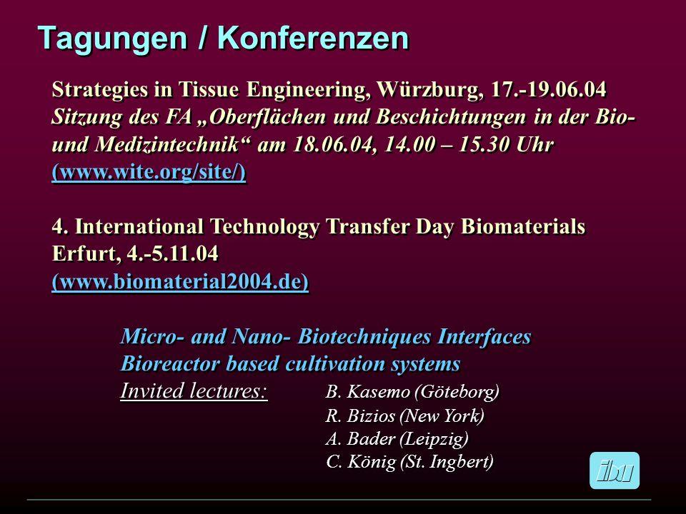 Tagungen / Konferenzen Strategies in Tissue Engineering, Würzburg, 17.-19.06.04 Sitzung des FA Oberflächen und Beschichtungen in der Bio- und Medizint