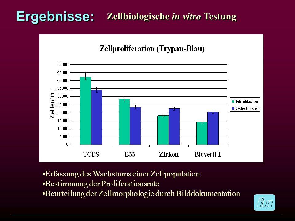 Ergebnisse: Zellbiologische in vitro Testung Erfassung des Wachstums einer Zellpopulation Bestimmung der Proliferationsrate Beurteilung der Zellmorpho