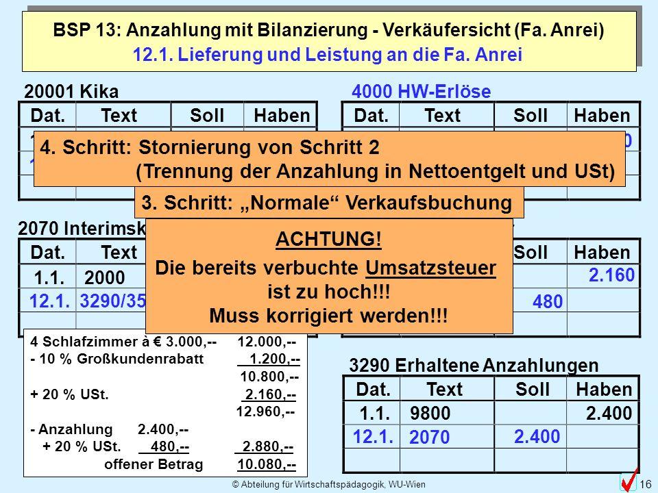 © Abteilung für Wirtschaftspädagogik, WU-Wien 16 Dat.TextSollHabenDat.TextSollHaben 20001 Kika 19.10. 2800 2.880 Dat.TextSollHabenDat.TextSollHaben 20