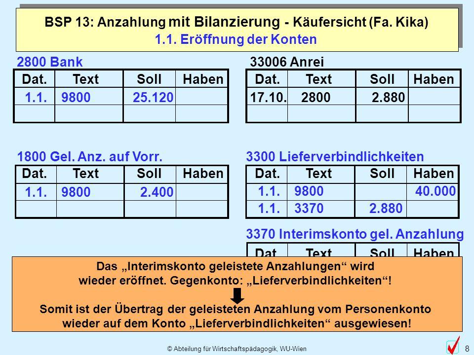 © Abteilung für Wirtschaftspädagogik, WU-Wien 8 1.1. Eröffnung der Konten BSP 13: Anzahlung mit Bilanzierung - Käufersicht (Fa. Kika) Dat.TextSollHabe