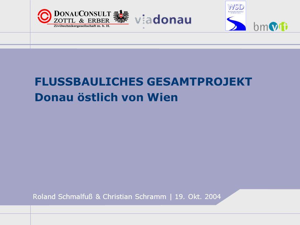 FLUSSBAULICHES GESAMTPROJEKT Donau östlich von Wien VORGESCHICHTE >Bis 1984: Stufenplan österreichische Donau PROJEKT DONAUKRAFTWERK HAINBURG >Herbst 1984: Baubeginn verhindert NACHDENKPAUSE >1985: ÖKOLOGIEKOMMISSION >1994: Nationalparkplanung: FLUSSBAULICHES GESAMTKONZEPT >1996: NATIONALPARK DONAUAUEN >1996: EXPERTENGRUPPE UNTERE DONAU verschiedene Lösungsansätze