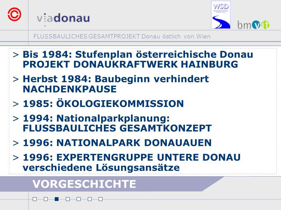 FLUSSBAULICHES GESAMTPROJEKT Donau östlich von Wien VORGESCHICHTE >Bis 1984: Stufenplan österreichische Donau PROJEKT DONAUKRAFTWERK HAINBURG >Herbst