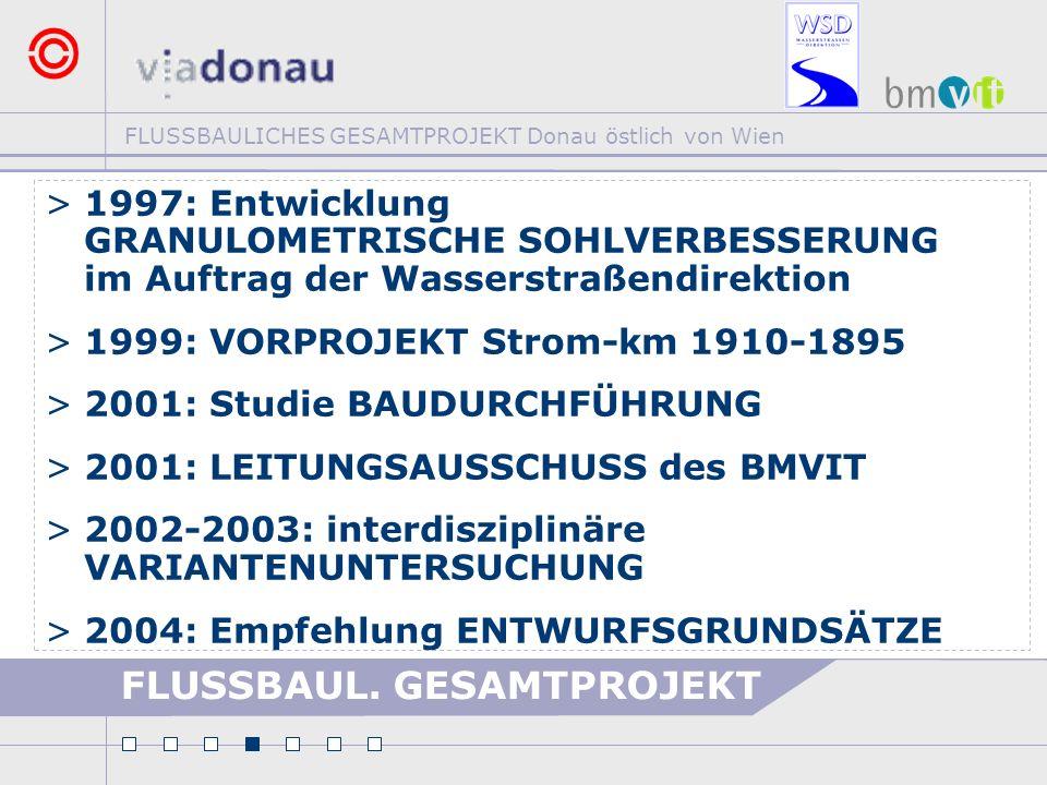 FLUSSBAULICHES GESAMTPROJEKT Donau östlich von Wien FLUSSBAUL. GESAMTPROJEKT >1997: Entwicklung GRANULOMETRISCHE SOHLVERBESSERUNG im Auftrag der Wasse