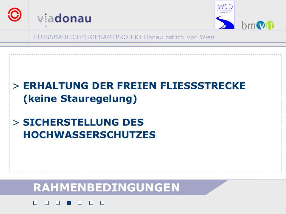 FLUSSBAULICHES GESAMTPROJEKT Donau östlich von Wien RAHMENBEDINGUNGEN >ERHALTUNG DER FREIEN FLIESSSTRECKE (keine Stauregelung) >SICHERSTELLUNG DES HOC