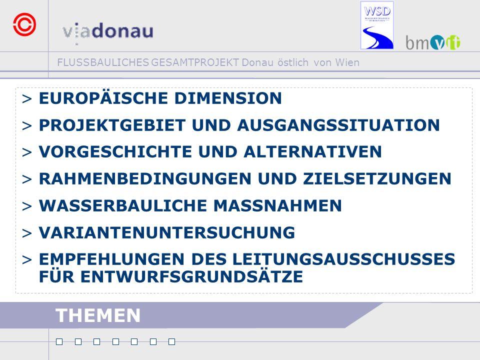 FLUSSBAULICHES GESAMTPROJEKT Donau östlich von Wien THEMEN >EUROPÄISCHE DIMENSION >PROJEKTGEBIET UND AUSGANGSSITUATION >VORGESCHICHTE UND ALTERNATIVEN