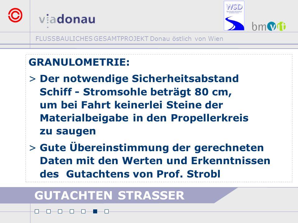 FLUSSBAULICHES GESAMTPROJEKT Donau östlich von Wien GRANULOMETRIE: >Der notwendige Sicherheitsabstand Schiff - Stromsohle beträgt 80 cm, um bei Fahrt